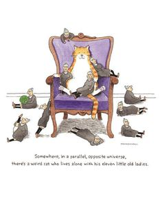 """Crazy Cat Lady Art, Funny Tabby Cat, """"Weird Lady Cat"""", a Humorous Watercolor Print by Scott Mendenhall"""