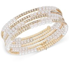 Anne Klein Gold-Tone Glass Pearl and Crystal Stack Bracelet ($27) ❤ liked on Polyvore featuring jewelry, bracelets, gold, pave bracelet, pearl bangle, pearl jewelry, pave crystal jewelry and pearl bracelet
