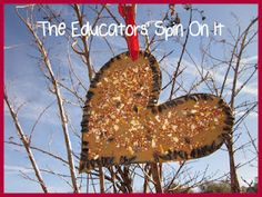 Create a Heart Bird Feeder for Valentine's Day and teach a Valentine's Poem about 100 and 1000!