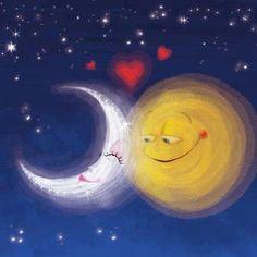 Sun and Moon- sol e lua Sun Moon Stars, Sun And Stars, Luna Moon, Moon Illustration, Moon Pictures, Moon Pics, Good Night Moon, Moon Magic, Beautiful Moon