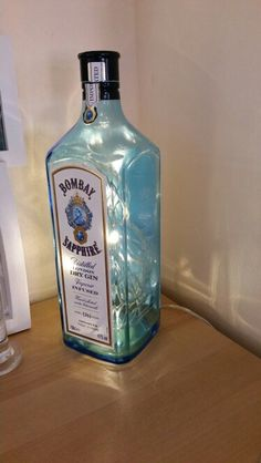 Upcycled bottle. Made into a lamp