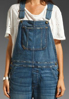 CURRENT/ELLIOTT The Overalls in Decoy with Repair at Revolve Clothing - Free Shipping!