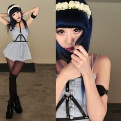 Make a similar top from man's shirt? pastel goth outfit. harness, blue hair