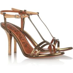 Lanvin Metallic patent-leather sandals ($398) ❤ liked on Polyvore featuring shoes, sandals, heels, bronze, blue high heel sandals, blue heel sandals, metallic strappy sandals, strappy high heel sandals y tan sandals
