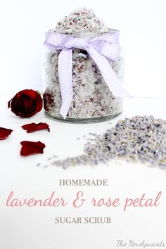 Homemade lavender & rose petal sugar scurb. All natural, simple recipe that uses ingredients you probably have on hand for a heavenly smelling scrub that'll leave your skin soft & smooth!