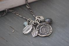 Botanical Charm Necklace Gemstone Necklace Crystal Quartz