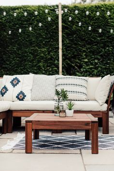 Geometric Cushions On Ikea Applaro Outdoor Sofa - A Paved Patio With Global Inspired Accents. Image By Adam Crohill