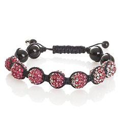 "Sonoma Studios Shamballa-Style Pink Ombre Pavé Crystal and Black Agate 6-1/4"" Bracelet at HSN.com."
