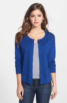 Halogen® Wool Blend Crewneck Cardigan (Regular & Petite) | Nordstrom