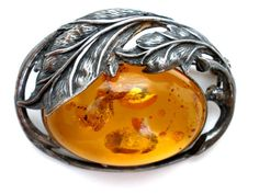 Sterling Silver Baltic Amber Brooch Art by TheJewelryLadysStore, $120.00