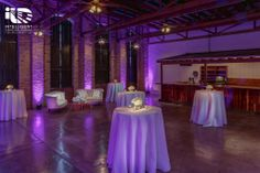 Palm Door on Sixth. Purple uplighting. Pinspotting. Lighting by Intelligent Lighting Design. Rentals by Loot Vintage & Premiere Select. Florals by Bird Dog Wedding. Photos by Jerry Hayes Photography.