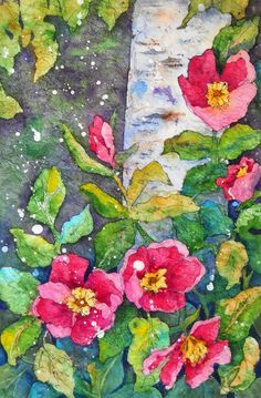 Watercolor Batik of Aspen and Poppies by Colorado Artist Martha Kisling