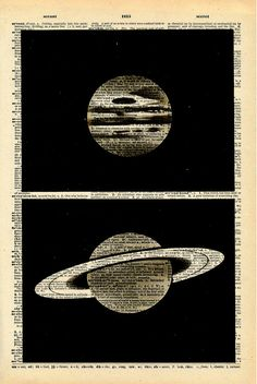 Vintage Dictionary Print Planets Upcycled by missquitecontrary, $10.00- great for Jakes outer space themed big guy room