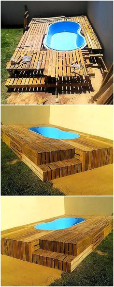 This is a medium size swimming hot tub created with the wooden pallets. This pallet wood structure is best to increase the beauty of your garden. You can simply craft this swimming hot tube for your children to play and bath at the same time at one place. #pool #hottub #pallets #woodpallet #palletfurniture #palletproject #palletideas #recycle #recycledpallet #reclaimed #repurposed #reused #restore #upcycle #diy #palletart #pallet #recycling #upcycling #refurnish #recycled #woodwork…