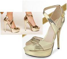 zapatilla de plataforma color oro 2016. Zapatos de fiesta de la marca Cklass.