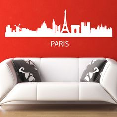 Paris Skyline Wall Sticker. This Paris Skyline wall décor is your only glorious and most desirable means to embellish your walls with the skyline of the most beautiful city of France with absolute mind boggling architectural highlights like Eiffel Tower, Notre Dame and Arc de Triomphe. http://walliv.com/paris-skyline-wall-sticker-wall-art-decal