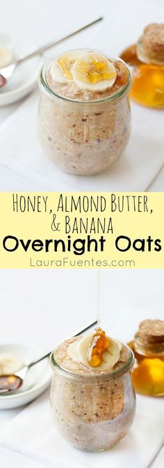 Almond Butter, and Banana Overnight Oats: Delicious Breakfast that's easy and sweet for busy mornings.Honey, Almond Butter, and Banana Overnight Oats: Delicious Breakfast that's easy and sweet for busy mornings. Breakfast And Brunch, Breakfast Recipes, Breakfast Ideas, Breakfast Healthy, Banana Breakfast, Breakfast Smoothies, Overnight Breakfast, Healthy Breakfasts, Breakfast Porridge