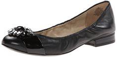 AK Anne Klein Women's Pebble Leather Ballet Flat, Black, 5.5 M US