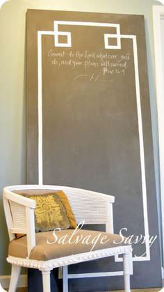 Hollow Core Door to Giant Chalkboard ~ Redeeming Creations hang on wall in dinning room?