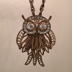 Anthropologie Crystal Owl Statement Necklace This is a one of a kind necklace! So special and beautiful with so many intricate details! Perfect condition. Anthropologie Jewelry Necklaces