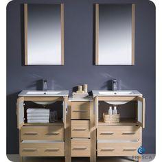 Fresca Torino 60 Light Oak Modern Double Sink Bathroom Vanity Side Cabinet & Integrated Sinks