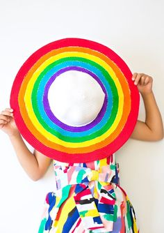 DIY Rainbow Floppy Sun Hat. Make a bright and cheerful summer statement with this happy rainbow DIY hat fun for kids or adults!