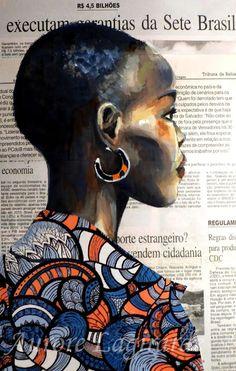 Portrait, femme noire : Inspiration ethnique, peinture et collage