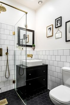 Kind of same idea but needs regular subway tile with thin black trim. DO - remember to get brushed gold on glass door