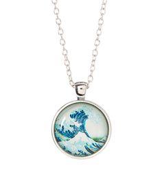 Look at this #zulilyfind! Blue & Silvertone Wave Medallion Pendant Necklace by Braided Birch #zulilyfinds