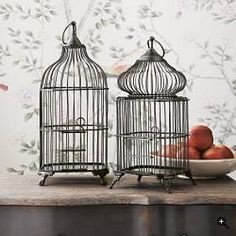 Brass and iron decorative cages.