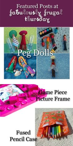 3 Easy Crafts for Kids: Peg Dolls, Game Piece Picture Frame, and Fused Pencil Case