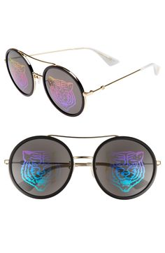 4b32f651ffee Free shipping and returns on Gucci 56mm Round Mirrored Aviator Sunglasses  at Nordstrom.com.
