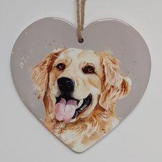 Golden Retriever Ceramic Heart Golden Retriever Gifts, Hanging Hearts, Ceramics, Animals, Beautiful, Ceramica, Pottery, Animales, Animaux