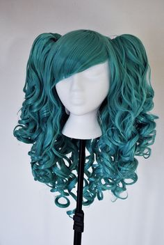 Teal Pig tail detachable pigtails Cosplay Wig by CookieKwigs, $48.00
