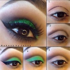 makeuphall:  40 Eye Makeup Looks For Brown Eyes: green glitter http://www.qunel.com/  fashion street style beauty makeup hair men style womenswear shoes jacket