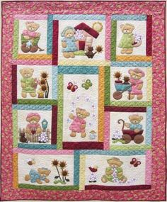 Daisy Bear - by Kids Quilts - Quilt Pattern - $30.00 : Fabric Patch, Patchwork Quilting fabrics, Moda fabric, Quilt Supplies, Patterns