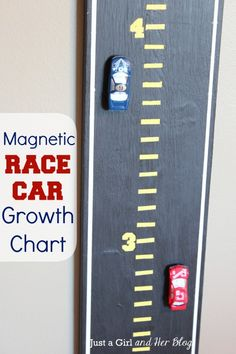 My boys would LOVE this! Magnetic Race Car Growth Chart by Just a Girl and Her Blog