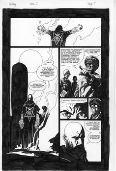 a page of original art from hellboy: seed of destruction by mike mignola.  love mike's work to pieces.