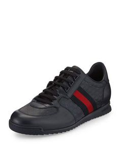 Gucci Ssima Lace-up Sneaker With Web Detail In Black Gucci Loafers, Gucci Sneakers, Best Sneakers, Gucci Shoes, Leather Sneakers, Sneakers Fashion, Prada Men, Gucci Men, New Shoes
