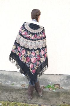 1f660019fc Russian shawl,Pavlovo Posad,Black floral shawl,gypsy shawl,tribal shawl,Ukrainian  shawl,chale russe,black wool scarf,festival pashmina