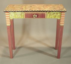 Rectangular Hall Table: Shrimp-Fuchsia-Anthropologie Knob, Custom Made-To-Order by SuzanneFitchGallery on Etsy