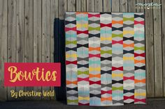 A traditional tumbler quilt with a twist, Bowties uses tumbler blocks to create a modern pattern that is perfect for baby or holiday quilts. Solids make for a happy, fresh look. Moda's new designer pa