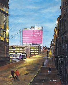 This is a print of my original acrylics painting People Make Glasgow The slogan has been adopted by the city to express one of the things that make this great city special. Printed on white card the image size is Scotland Kilt, Glasgow Scotland, Cityscape Art, Old Trees, Painting People, Scandinavian Christmas, Sympathy Cards, Funny Cartoons, Acrylics