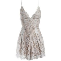 Sans Souci Lace up back detail lace romper ($59) ❤ liked on Polyvore featuring jumpsuits, rompers, dresses, jumper, jumpsuites, vestidos, white, white romper, white lace rompers and tie-dye rompers
