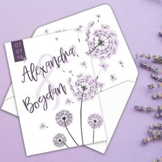 INVITATIE Purple Blowball Purple, Purple Stuff