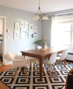 An Evolving Condo Design | west elm: Room Interior, Interior Design Living Room, Living Room Decor, Dining Room Design, Dining Room Table, Wood Table, Dining Rooms, Carpet Dining Room, Dining Chairs