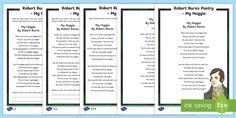 Robert Burns Poetry My Hoggie Activity Sheet - CfE Literacy, scots, robert burns, poetry, poems, burns, burns night, Scottish