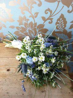 Muscari Eryngium Aster Rosemary Grasses Daisies Campbell's Flowers: Wedding Portfolio