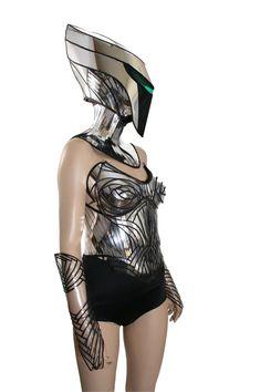 2 piezas cyborg alienígena máscara casco robot armadura por divamp
