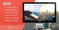 ThemeForest - Master - One Page HTML 5 Portfolio Template  Free Download Free Portfolio Template, Html Website Templates, Business Company, First Page, Wordpress